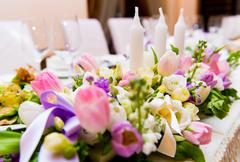 Stock Photo of wedding decoration with flowers and candles