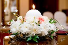 Flower and candle decoration for a wedding Stock Photos