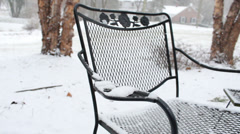 Frosted metal chair in the snow Stock Footage