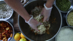 Food Preparation Chef Mixing Ingredients Stock Video - stock footage