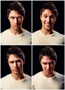 Handsome young man different facial expressions Stock Photos