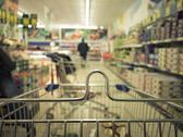 Stock Photo of view from shopping cart trolley at supermarket shop. retail.