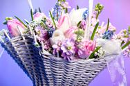 Stock Photo of beautiful spring flowers in a basket