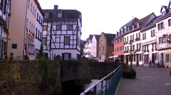 Tourists in old German towns (Bad Munstereifel). Stock Footage