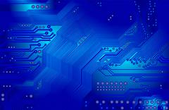 printed circuit in blue - stock illustration