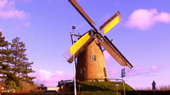 Wind mill in dutch town Cadzand. Stock Footage