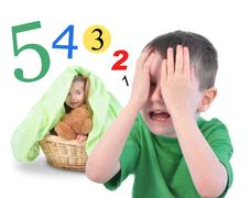 Hide and go seek numbers game on white Stock Illustration