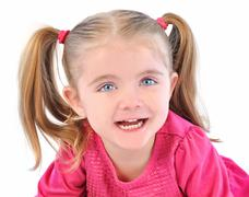 cute little girl on white isolated background - stock photo