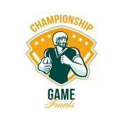 american football championship game finals crest. - stock illustration