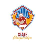 Stock Illustration of american football quarterback state championships.