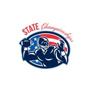 Stock Illustration of quarterback state championships retro.
