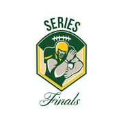 Stock Illustration of american gridiron running back series finals crest.