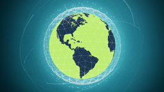 Global communication network looped high defenition - green version - stock footage