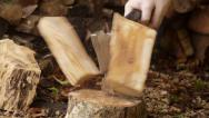 Stock Video Footage of Man splitting logs with axe