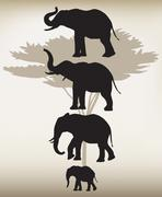Elephants in Different Poses - stock illustration