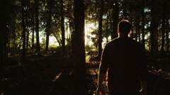 Man Walking Into Forest Glidecam - stock footage
