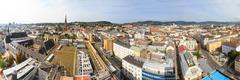 linz cityscape panorama, austria - stock photo