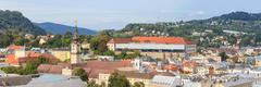 linz cityscape with schlossmuseum and tower of upper austrian landtag (parlia - stock photo