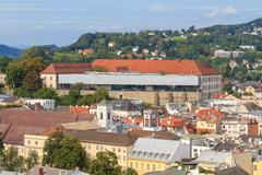 linz cityscape with schlossmuseum and old town, austria - stock photo