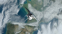 Space Shuttle Next to Earth Stock Footage