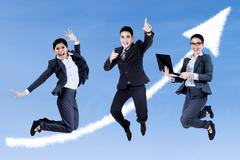 excited business people - stock illustration