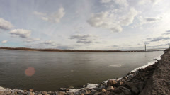 Wide angle Mississippi River time lapse - stock footage