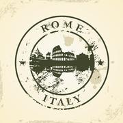 grunge rubber stamp with rome, italy - stock illustration
