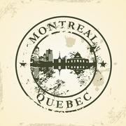 grunge rubber stamp with montreal, quebec - stock illustration