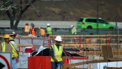 Construction manager learns development documentation at development site Stock Footage