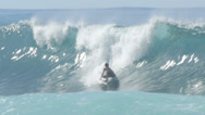 Stock Video Footage of Surfer surfing in big wave north shore Hawaii banzai pipeline
