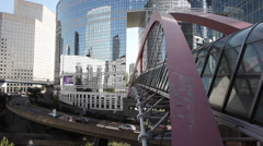 Paris, La Defense. A pedestrian bridge. Outside. Stock Footage