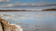 Stock Video Footage of HDR wide angle shot of ice on Mississippi River