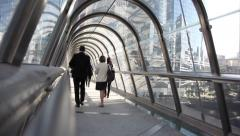 Paris, La Defense. A pedestrian bridge. Inside. Stock Footage