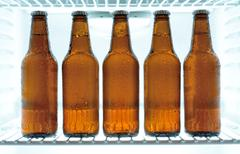 Beer in a fridge - stock photo