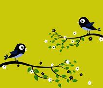 Black blue birds Stock Illustration