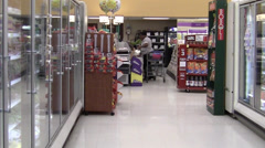 Grocery store aisle and checkout Stock Footage