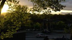 Time lapse sunset with traffic - stock footage