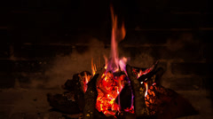 The firewood burning in the fireplace, closeup Stock Footage