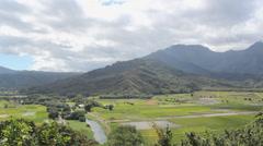 Hanalei Valley, Time Lapse Kauai, Hawaii Taro Field Stock Footage