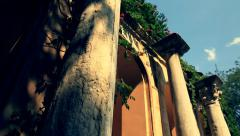 Antique town Khersones. The ancient arch and the pillars Stock Footage