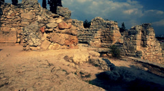 Stock Video Footage of Antique town Khersones. The amphitheatre ruins