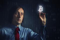 Choosing bitcoins as currency Stock Illustration
