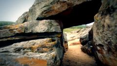 The stones passageway Stock Footage