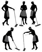 Charwoman Silhouette - stock illustration