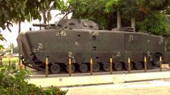 Displayed vintage tank Stock Footage
