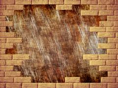 brown grungy abstract background and yellow brick frame. - stock photo