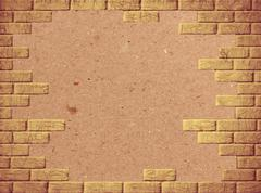 abstract background with paper and yellow brick frame. - stock photo
