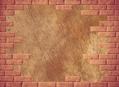 wooden abstract background with yellow brick frame. - stock photo