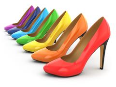 high heels shoes on white background. - stock illustration
