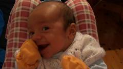 Portrait of cute baby making funny faces 2 Stock Footage